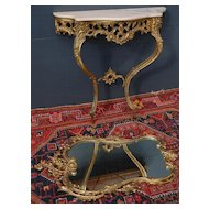 A Beautiful Bronze Side Table with Black Wooden Top and Bronze Mirror