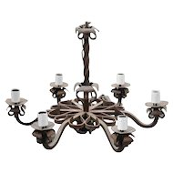A Large Heavy Antique Quality Wrought Iron 6 light Chandelier Floral Design