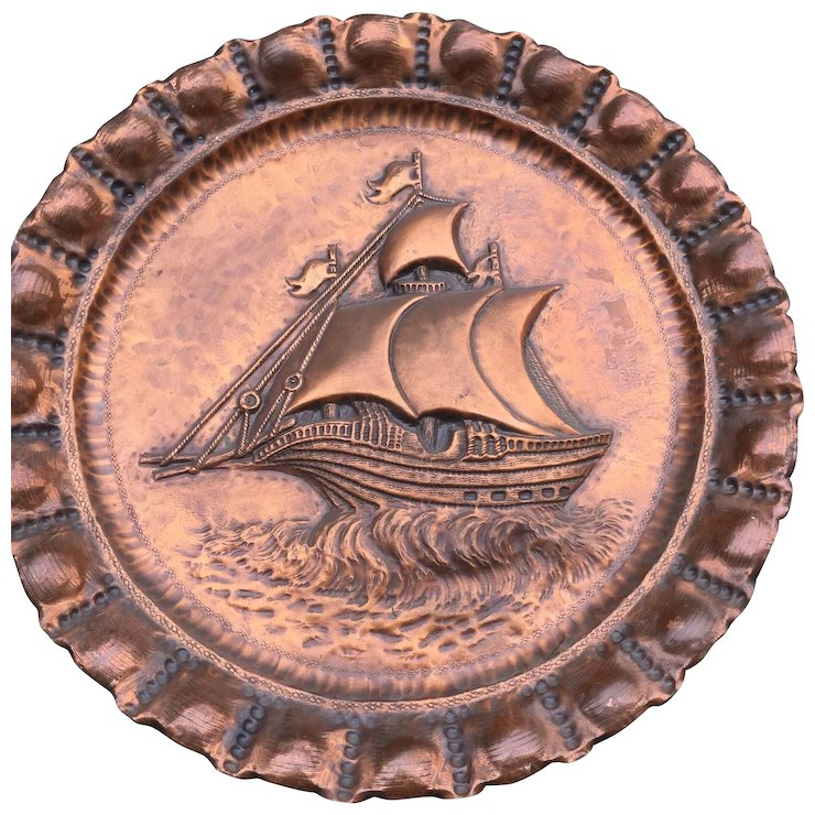 Huge Vintage Copper Wall Plaque Relief Plate Boat Ship Decor