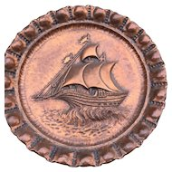 Huge Vintage Copper Wall Plaque - Relief - Plate,  Boat - Ship Decor