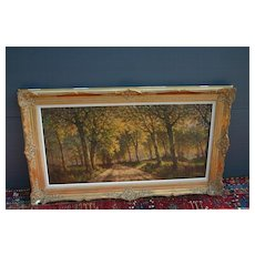 A Large Lovely Forest Landscape Oil Painting in Wooden Frame