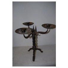 An Antique Wrought Iron 3 light Candelabra