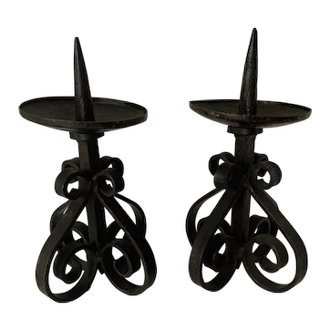 Sturdy Pair Forged Wrought Iron Candlesticks / Candleholders