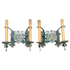 Pair of Two-Light Wrought Iron Castle Art with Shields Wall Sconces