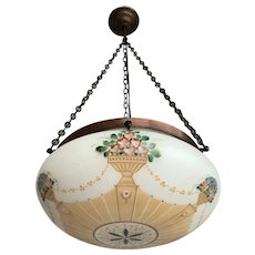 1930s  Decorative Hand Painted Opaline Glass Shade and Brass Chain Pendant Light