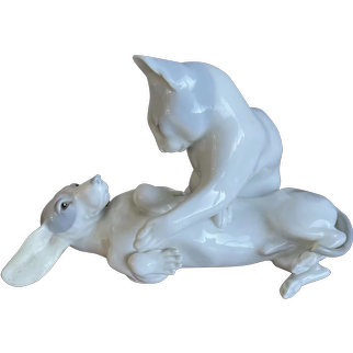 Rare Meissen Porcelain Playing Dog and Cat Sculpture