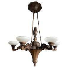 Large Jugendstil Carved Oak Chandelier with Meaningful Owl Sculpture