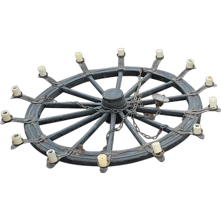 For Man Cave or Grill Room, Huge Wooden / Iron 14-lights Wheel Chandelier
