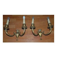 A Pair Art Nouveau Quality Bronze 2-light Wall Sconces