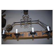 A Huge French Wooden/Wrought-iron 8 light Castle Chandelier