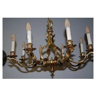 A Beautiful French Heavy Bronze 8-light Chandelier