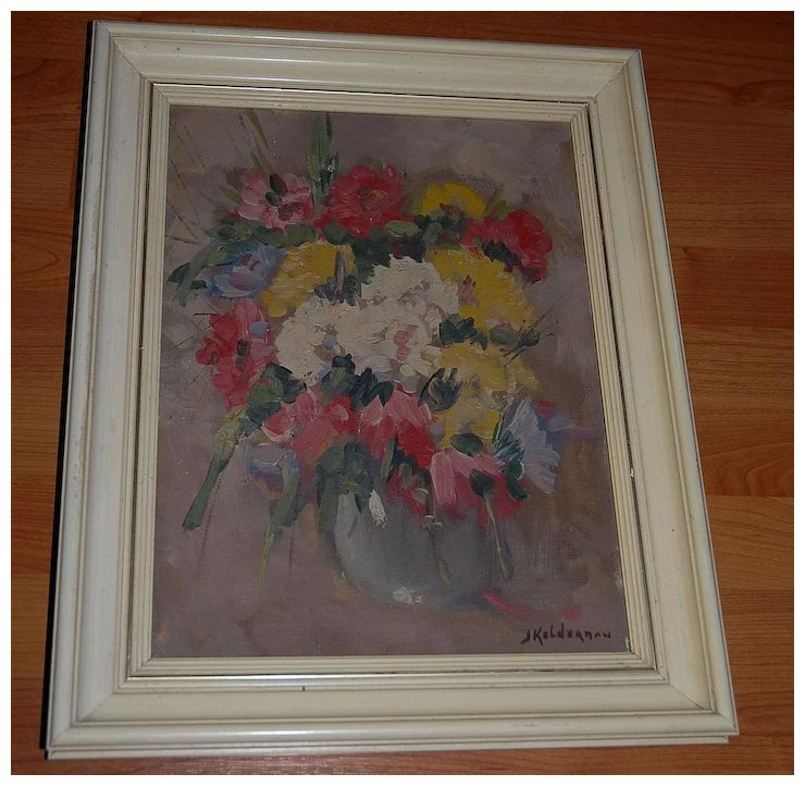 A Floral Art Framed Oil Painting Still Life Flowers Vase Europe