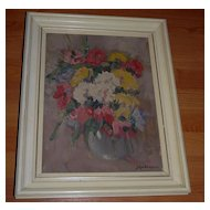 A Floral Art Framed Oil Painting Still Life Flowers Vase