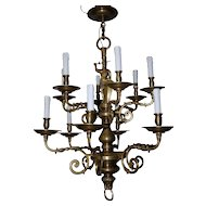 Beautiful Antique Bronze Figural 2-tier, 12-light Chandelier