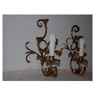 An Antique Italian Pair Toleware 1-light Wall Sconces