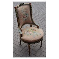 A Lovely  Antique Carved Wood Polychrome Chair with Floral Needlepoint