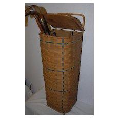 An Original Wooden/Reed baguette basket