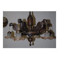 Rare Antique Carved Wood Parrot 6-light Chandelier