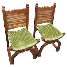 Rare Antique Pair Gothic Revival Oak Chairs