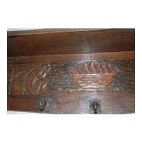 Rare Carved on Wood Wall Rack with 5 Hooks