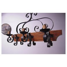 A Scrolled Wooden/Wrought-Iron 6-light Castle Art Chandelier