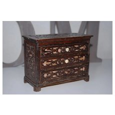 Antique German Sawed Wood Doll House Commode with 3 Drawers