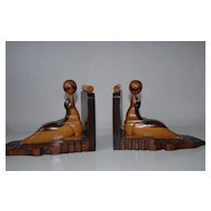 Vintage Pair Fine Carved Wood Seal Bookends