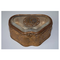 Antique Brass Floral Jewelry Box, Glass Top with Bronze Medallion AUTOMNE