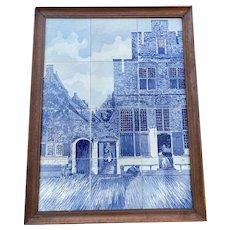 Large 12 Porcelain Tile Delft Blue Painting / Plaque / Panel Street Vermeer