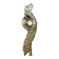 Very Rare Bronze wall Clock by A. Cherpion, Nancy in the Shape of a Peacock Sculpture