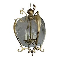 Rare Vintage Fine Gilt Bronze and Curved & Cut Glass Lantern / Pendant Light