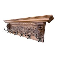 Antique Oak Wall Coat-Rack with Stunning Lion Sculptures and Bronze Hooks, 1900