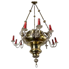 Early 1900 Silvered Bronze and Brass Gothic Revival Chandelier with Angels