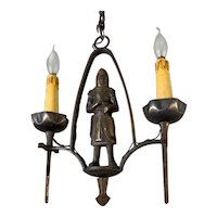 Rare Knight Sculpture Watchman Pendant Light with Swords