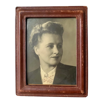 Fine Quality Mid-Century Hand-crafted Leather Picture Frame by Delvaux Paris