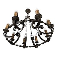 Large Antique Wrought Iron Medieval and Castle Design Chandelier