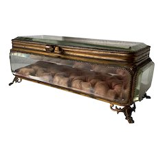 Large 19th Century French Thick Beveled Glass Jewelry Casket Box or Display Vitrine Case