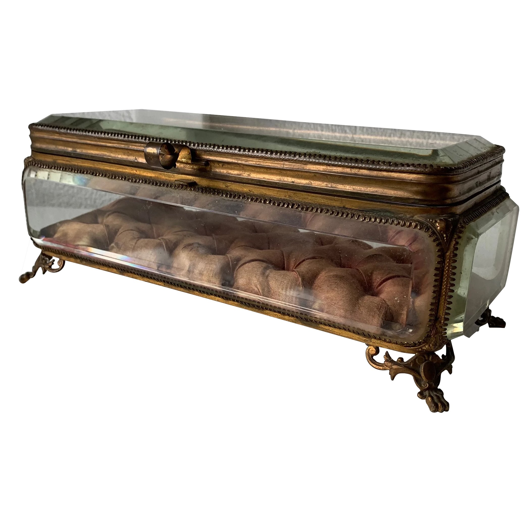 Large 19th Century French Thick Beveled Glass Jewelry Casket Box