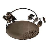 Midcentury Gateau Set, Brass & Metal Dish with Wrought Iron Handle / Carrier