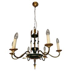 Empire Revival Six Light Chandelier with Swan Heads and Arrows