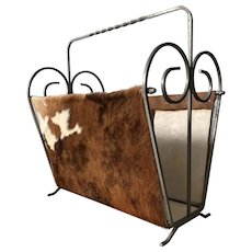 Midcentury Hand-crafted Iron and Leather Magazine Rack