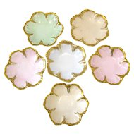 6 Gilt Trimmed Limoges Porcelain Salts or Butter Pats in Flower Form