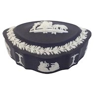Wedgwood Black Jasperware Oval Trinket Box