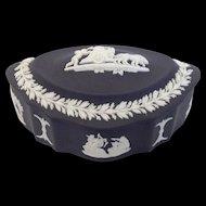 Wedgwood Black Jasperware Oval Trinket Box