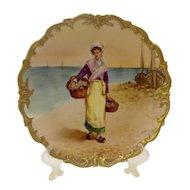 Limoges Portrait Plate Signed DuBois
