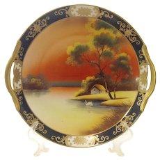 1920s Noritake Scenic Swan Double Handle Plate