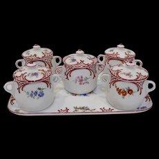 Czech Pots de Creme Set with Tray