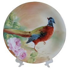 Exquisite B&H Limoges Pheasant Game Bird Charger, Factory Decorated, Artist Signed