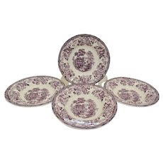 Set of Four Royal Staffordshire Clarice Cliff Tonquin Plum Purple Soup Bowls