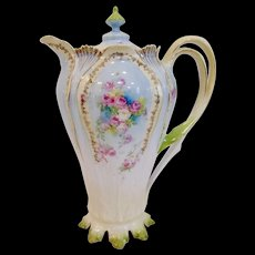 RS Prussia Petite Roses Chocolate Pot with Leaf Handles